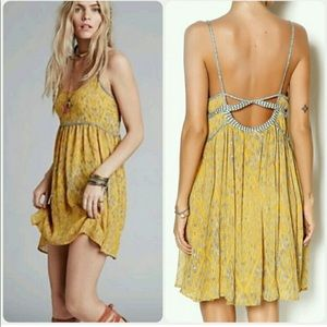 Free People mustard periscope in the sky dress Xs